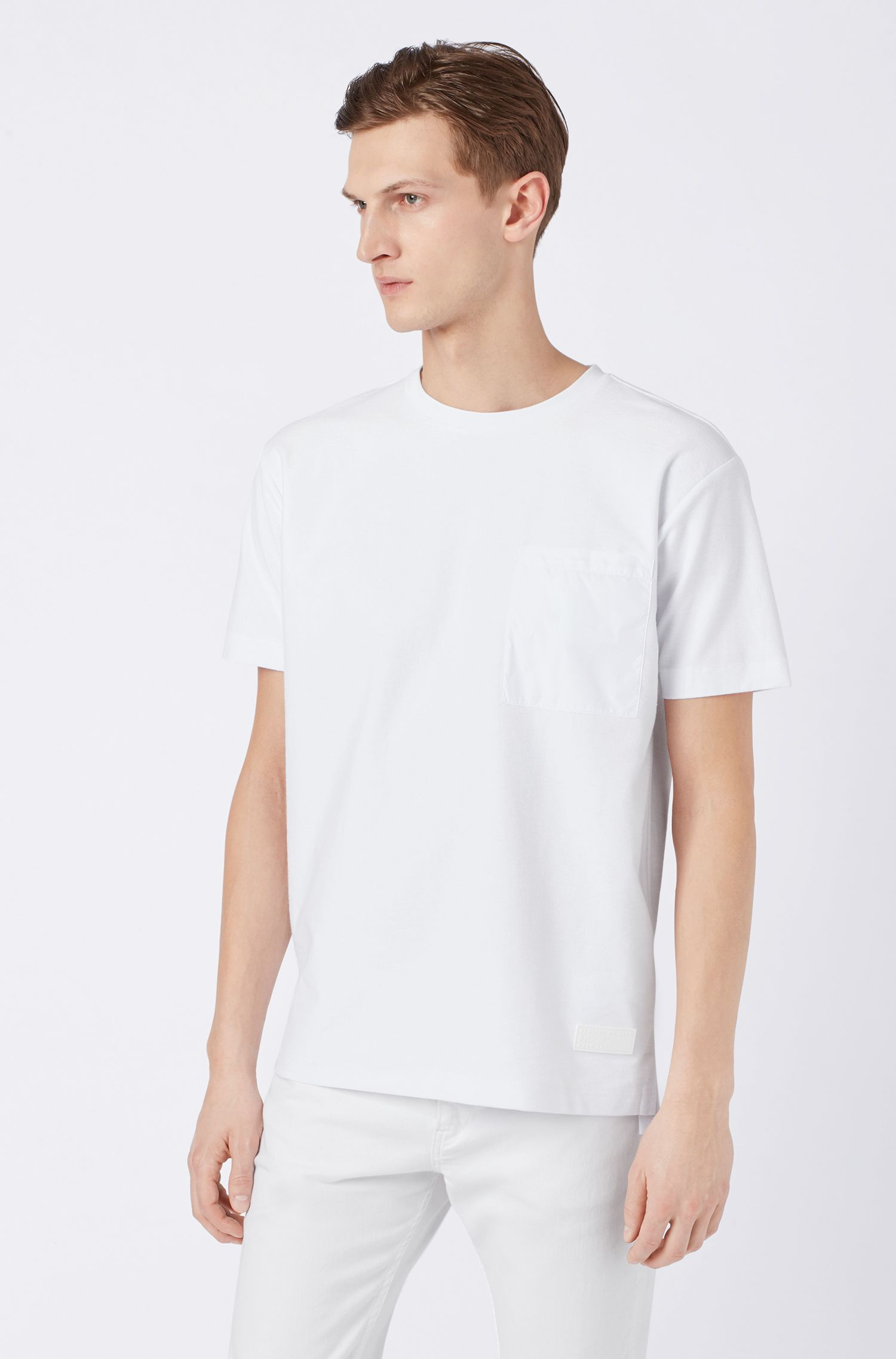 Relaxed-fit T-shirt in cotton with technical pocket detail, White
