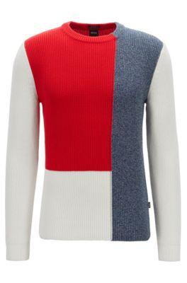 Baumwoll-Pullover im Colour-Block-Design, Weiß