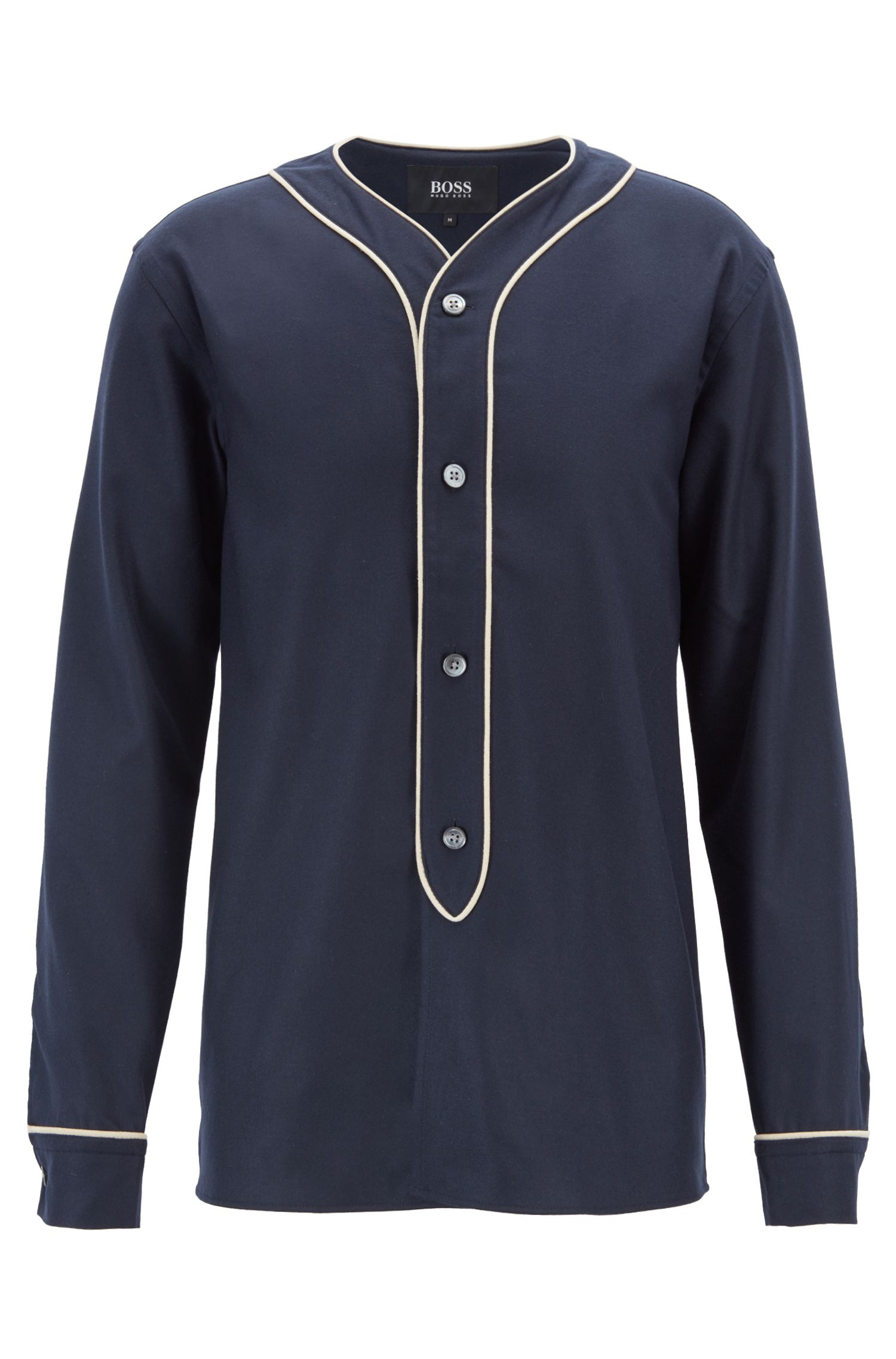 Fashion Show Capsule felt shirt with contrast piping, Dark Blue