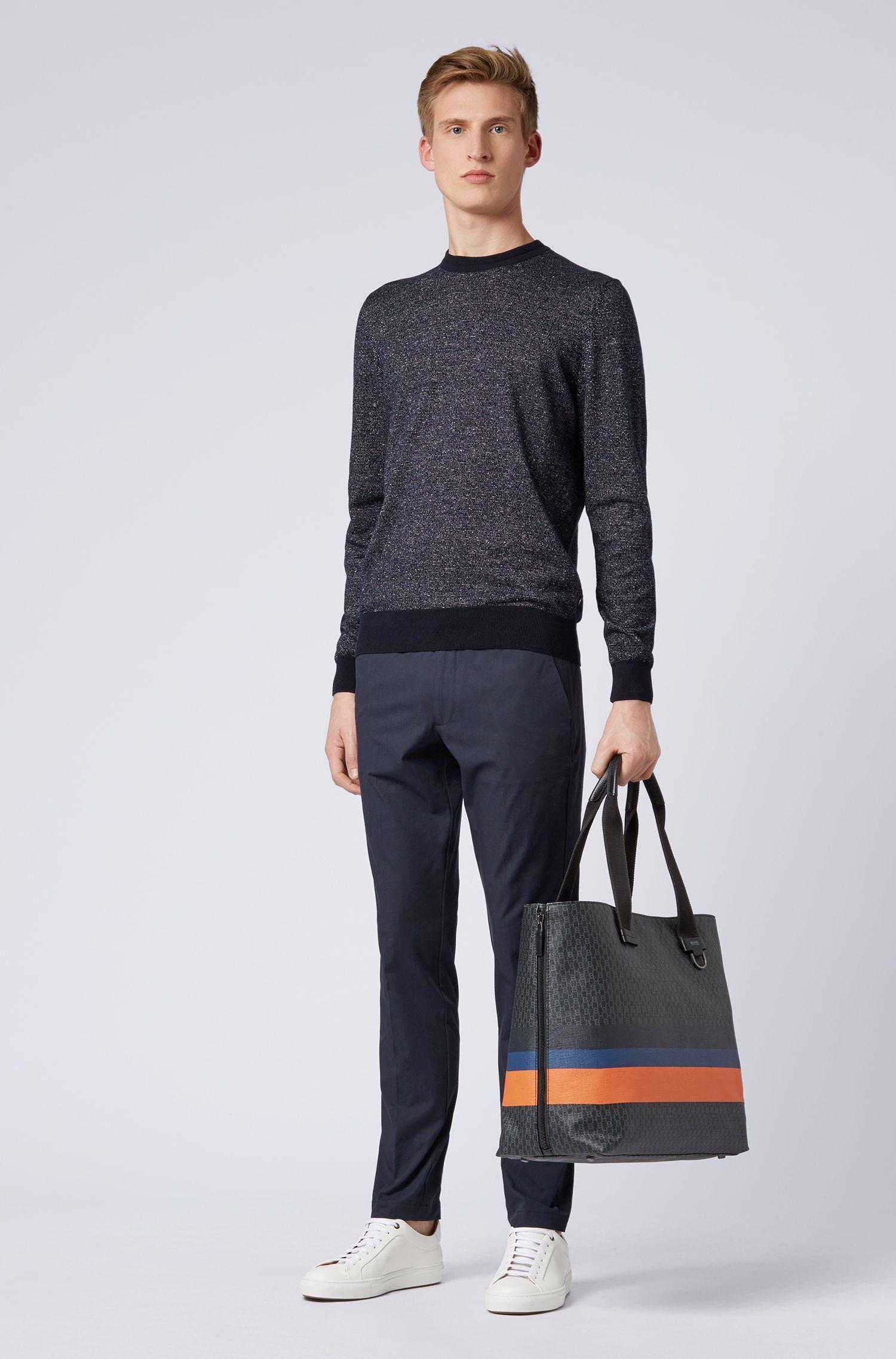 Maglione bicolore in misto cotone-lino, Blu scuro