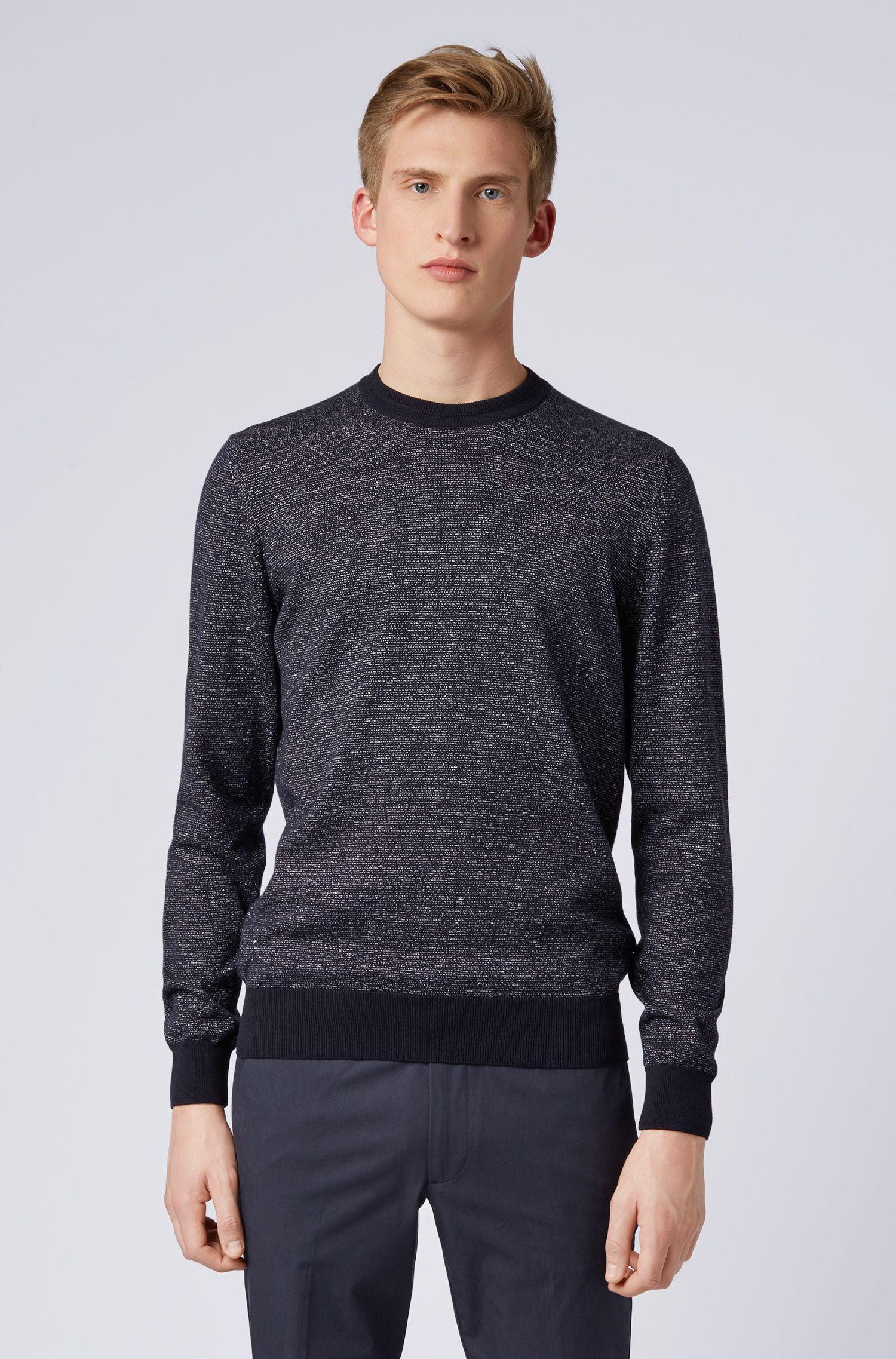 Gestrickter Pullover aus zweifarbigem Baumwoll-Mix mit Leinen, Dunkelblau