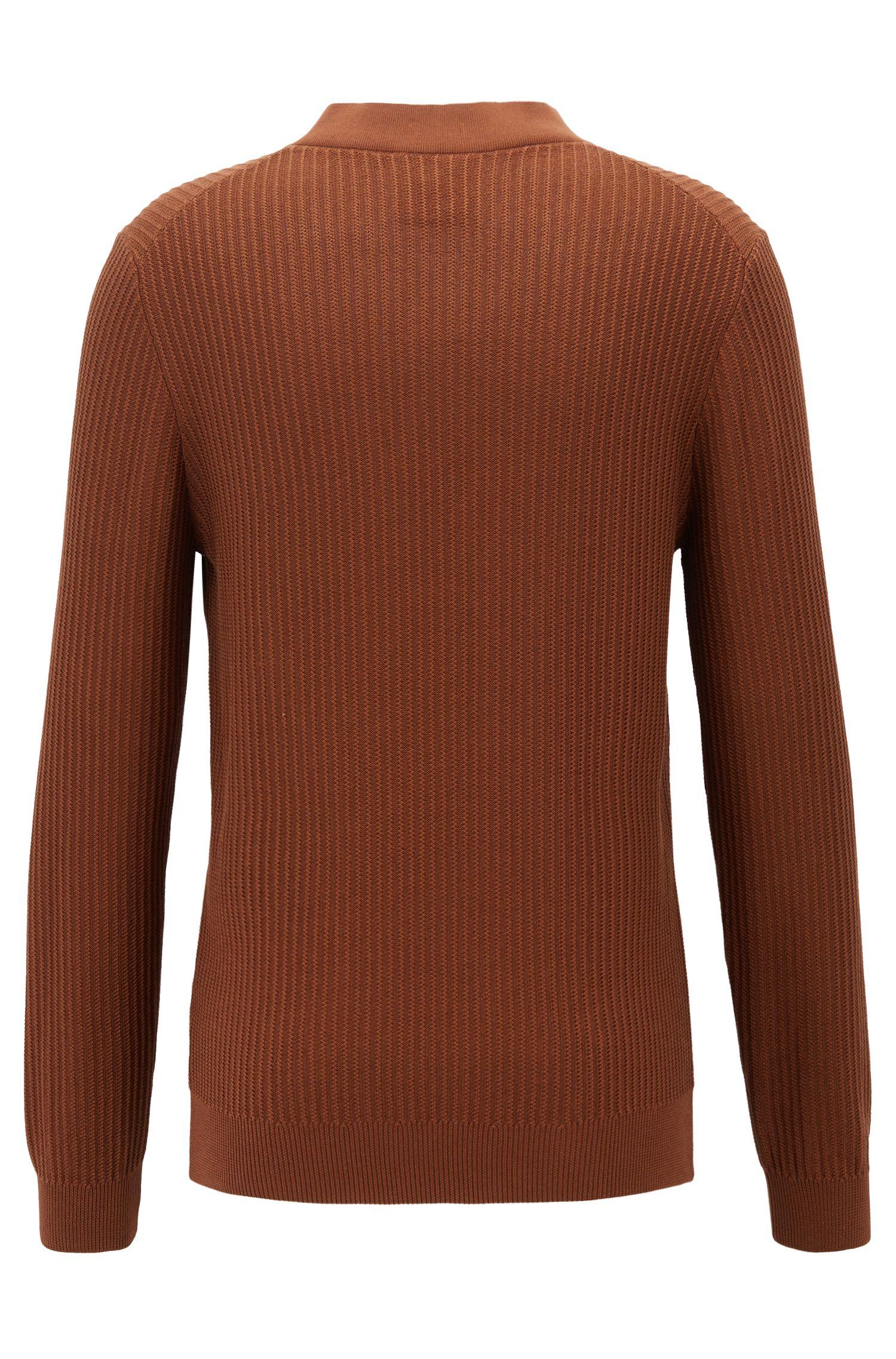 Jersey de cuello en pico en seda con algodón, Marrón