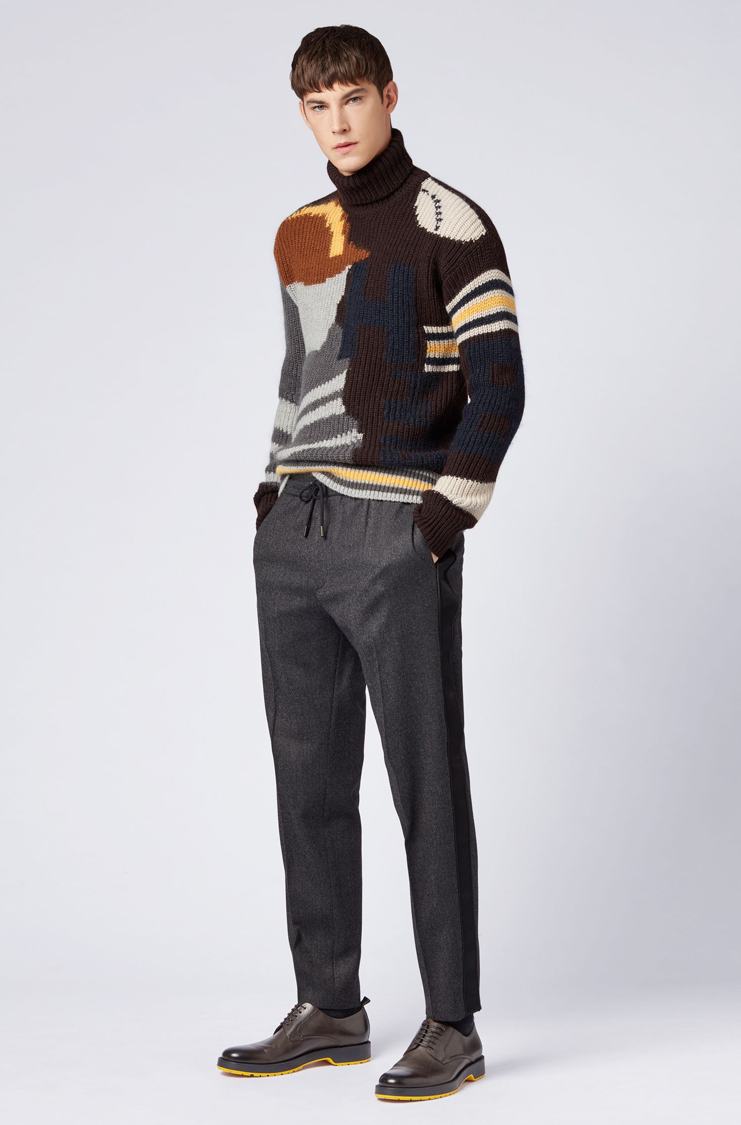Pull à col cheminée de la collection capsule Fashion Show, à motif base-ball intarsia, Gris sombre