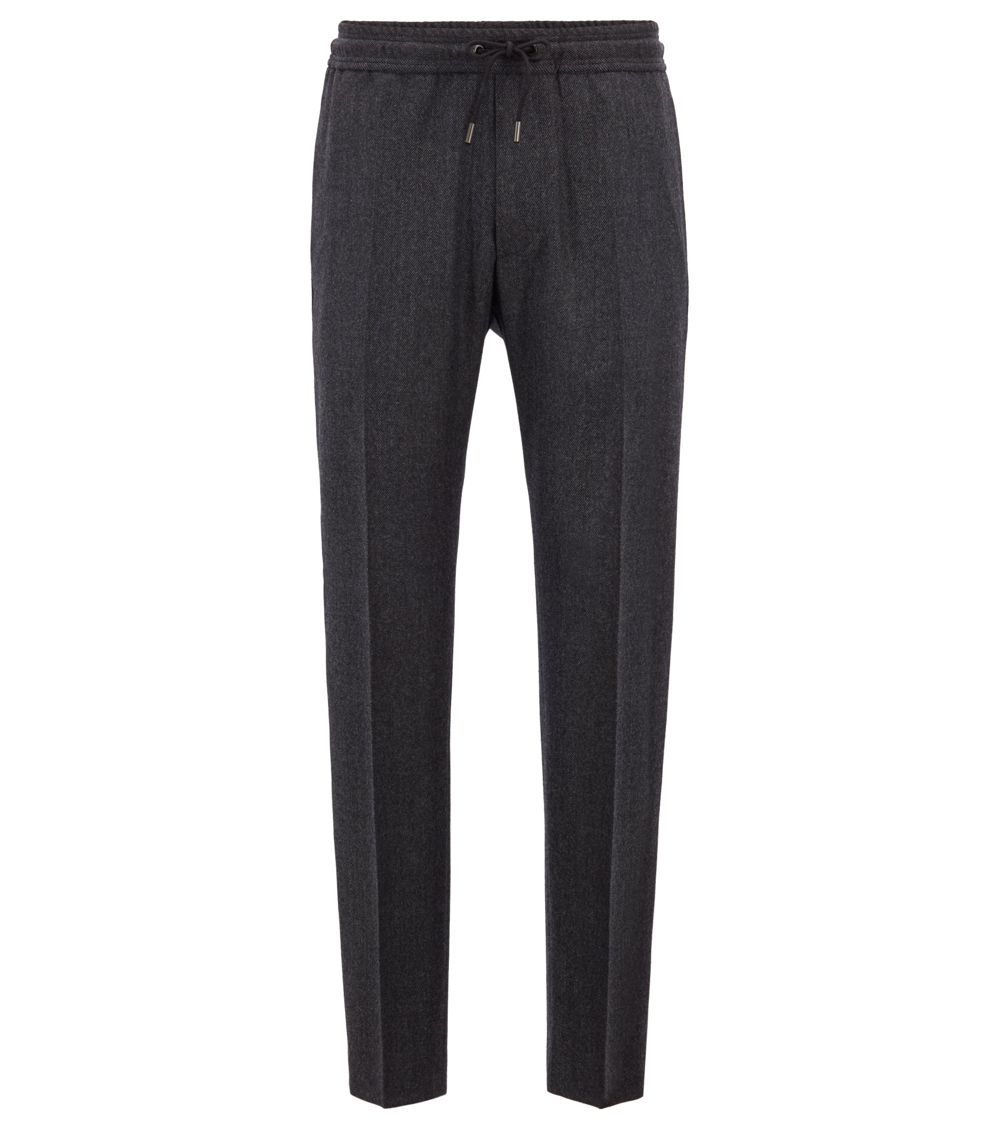 Fashion Show Capsule cropped regular-fit trousers with side-seam stripe, Grey