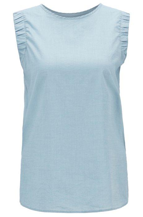 Ärmellose Regular-Fit Bluse aus Baumwoll-Mix mit gesmokten Armlöchern, Blau