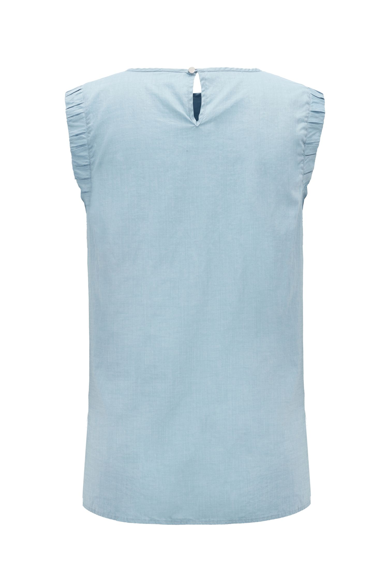 Sleeveless blouse in a cotton blend with smocked armholes, Blue
