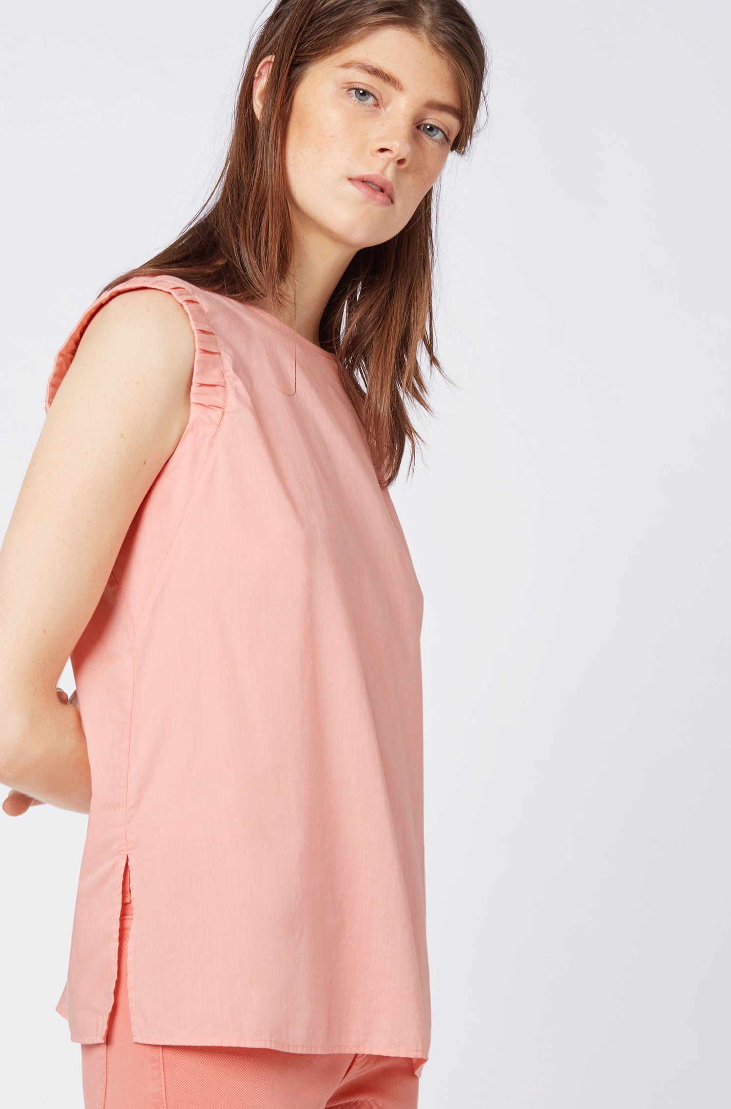 Sleeveless blouse in a cotton blend with smocked armholes, Light Orange