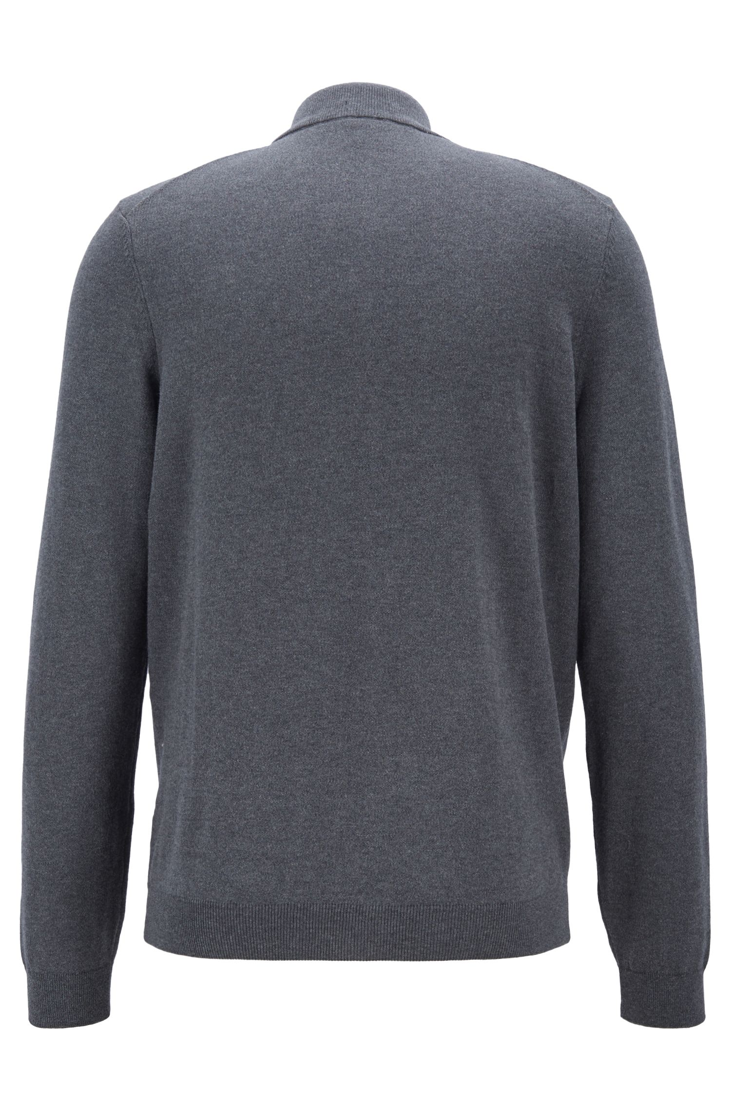 Jersey de punto de algodón con cremallera bidireccional en la parte delantera, Gris