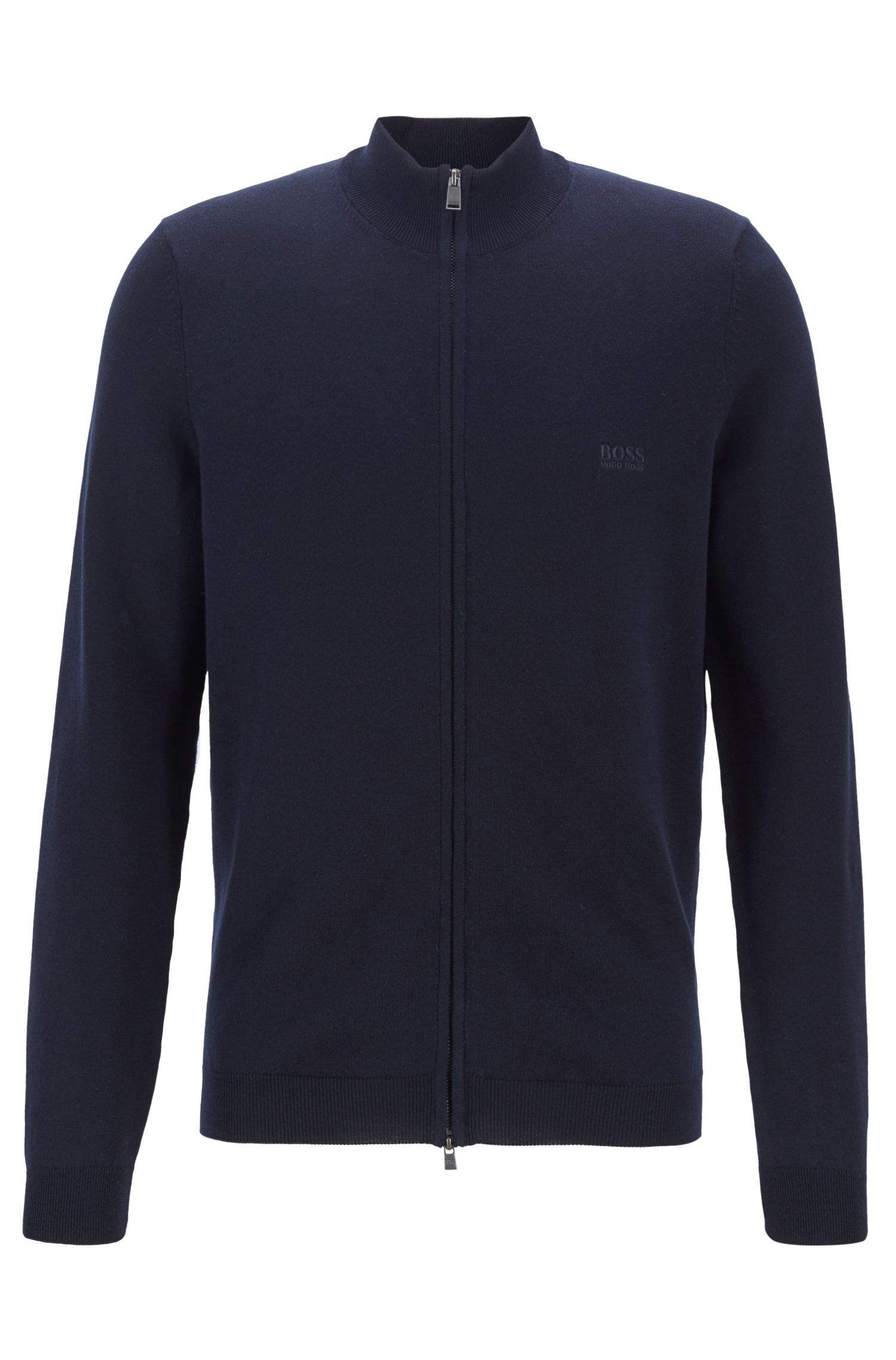 Knitted sweater in cotton with two-way front zip, Dark Blue