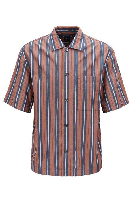 Camisa de rayas relaxed fit con cuello cubano, Marrón