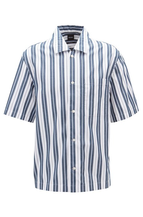 Gestreiftes Relaxed-Fit Hemd mit Freizeitkragen, Hellblau