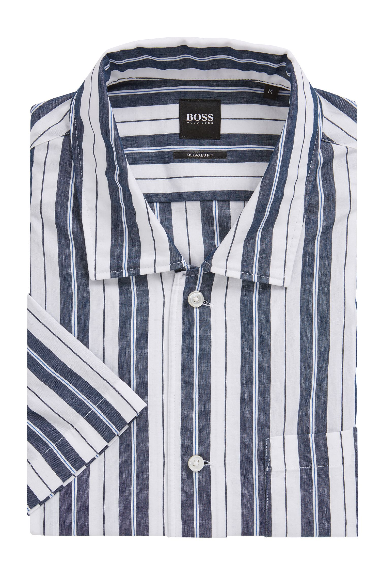 Relaxed-fit striped shirt with camp collar, Open Blue