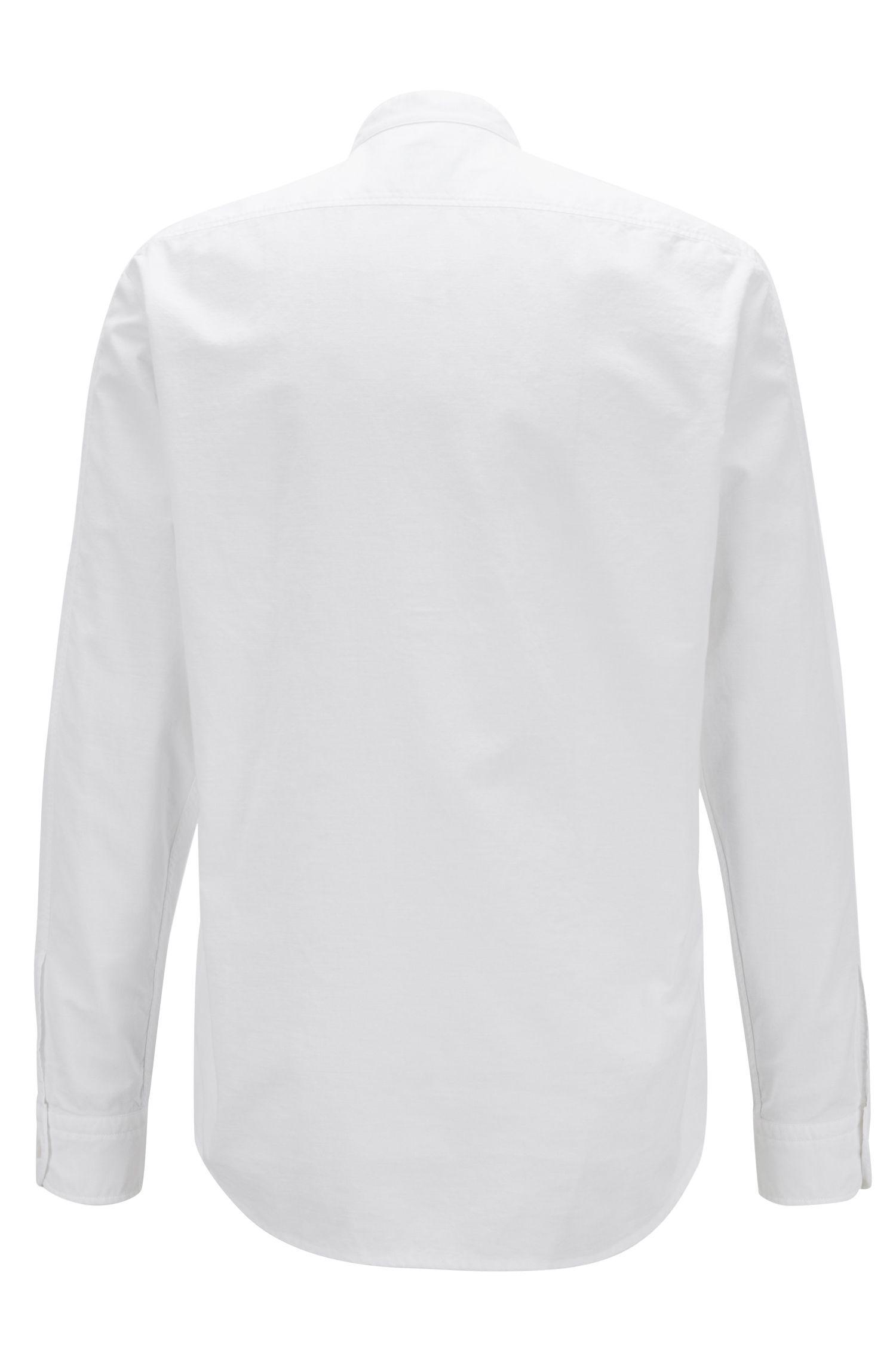 Regular-fit overhemd met een verzachte finish en een opstaande kraag, Wit