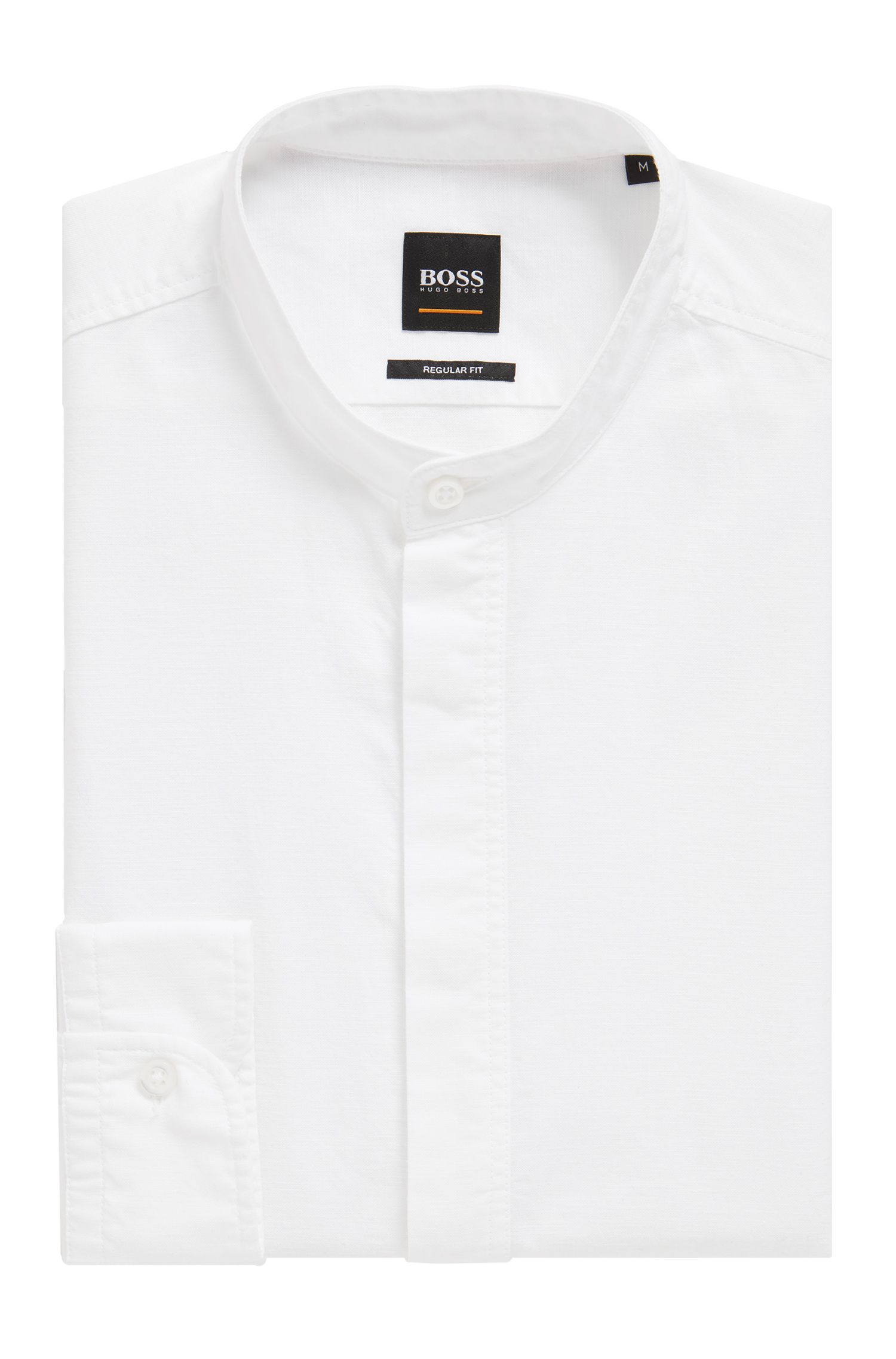 Regular-fit shirt with peached finish and stand collar, White