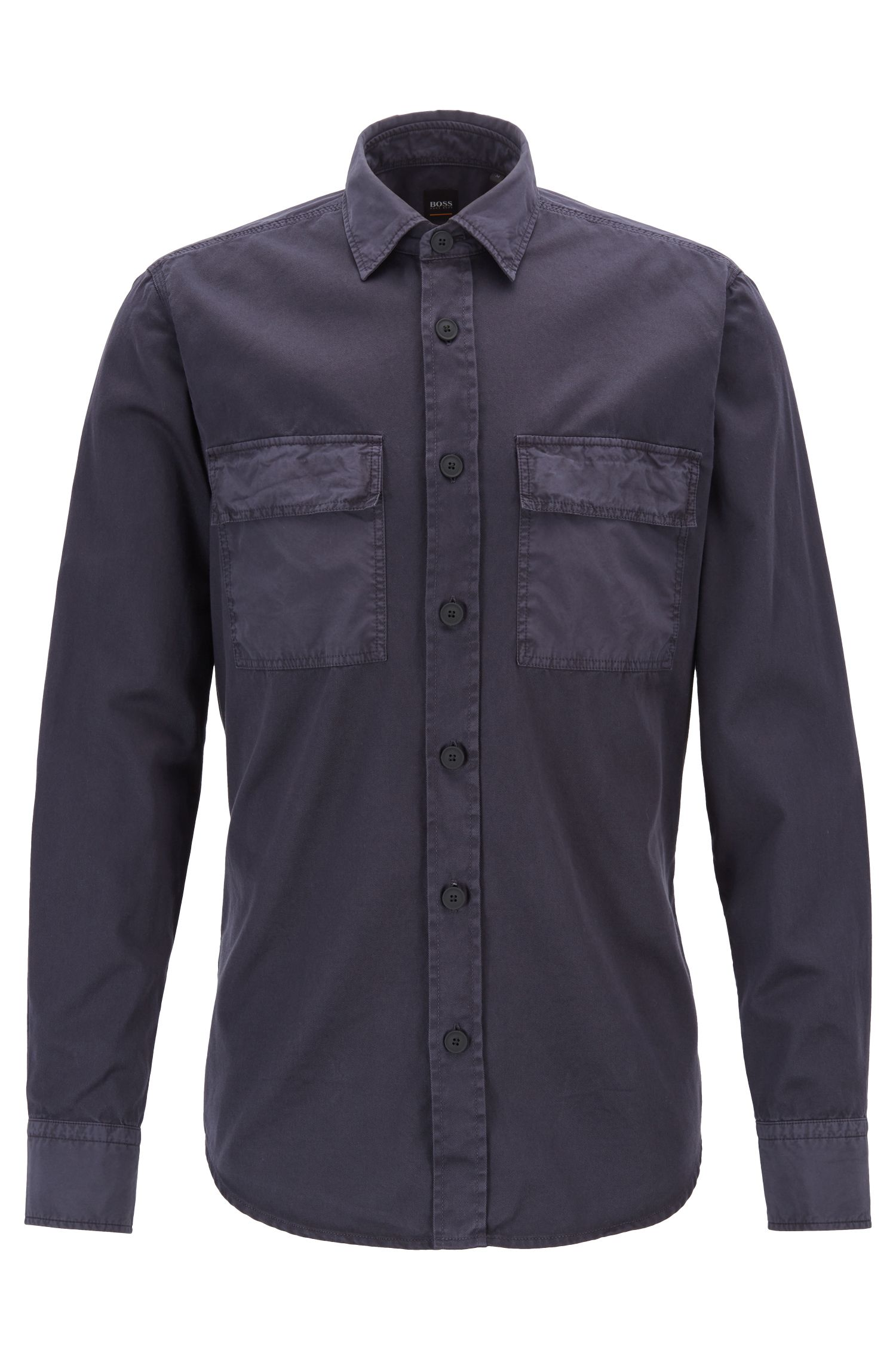 Camicia regular fit in twill di cotone con tasche con patta, Blu scuro