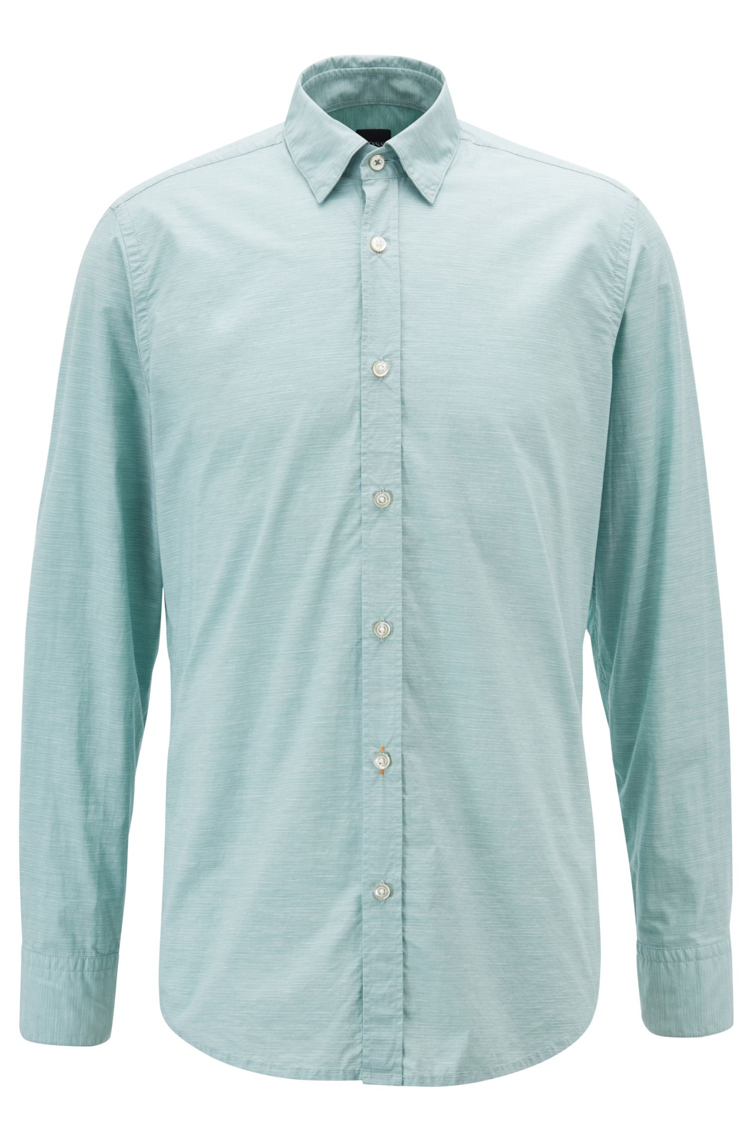 Regular-fit shirt in fil-à-fil stretch cotton with slub effect, Light Green