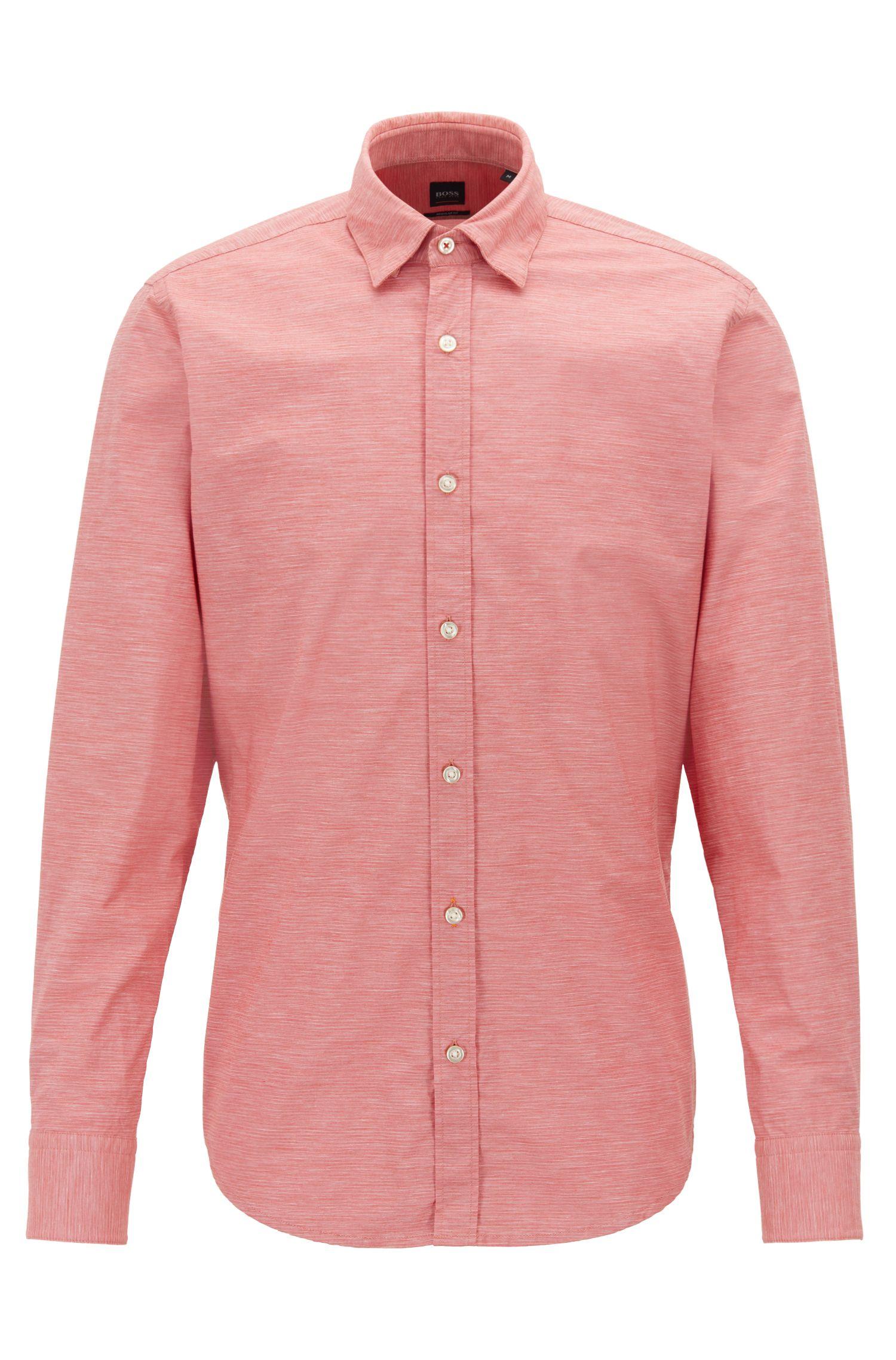 Regular-fit overhemd in fil-à-fil-stretchkatoen met een slubstructuur, Donkeroranje