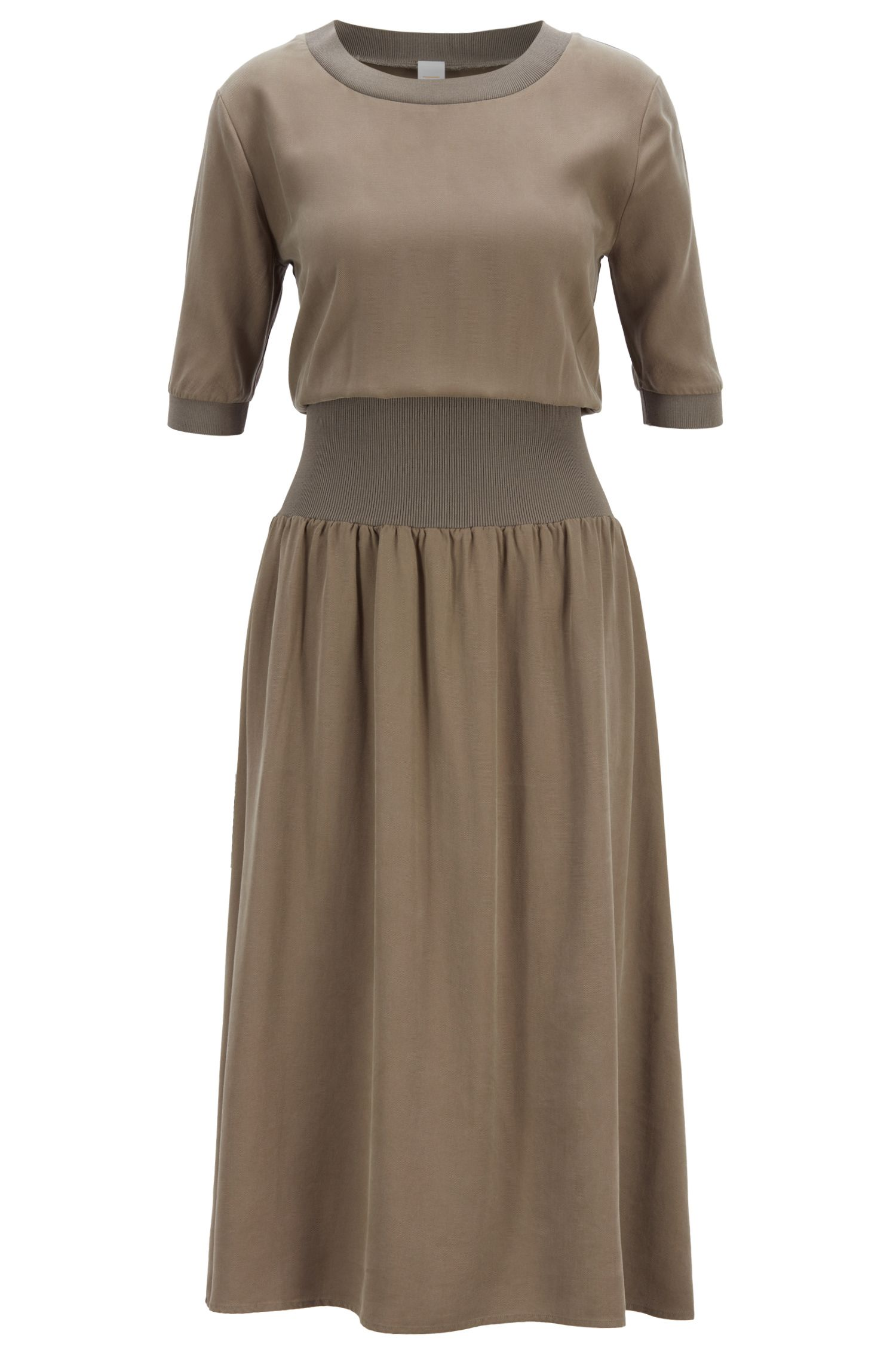 Relaxed-fit dress with extended waistband, Open Grey