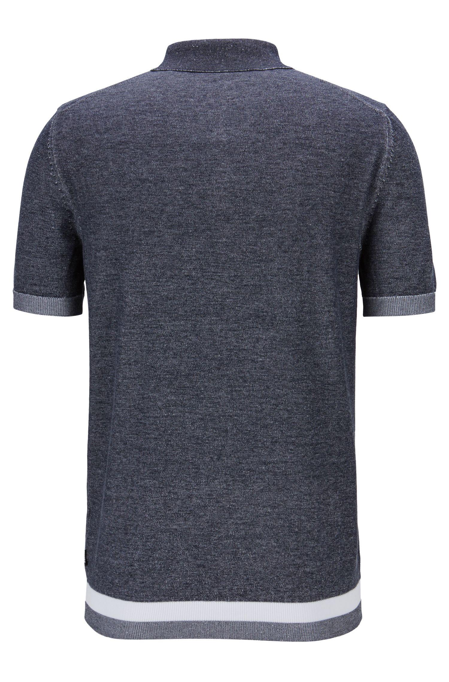 Slim-fit trui in polostijl van moulinékatoen, Donkerblauw