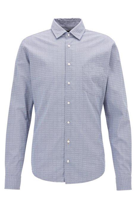Slim-fit overhemd van dobbykatoen met geometrisch dessin, Blauw