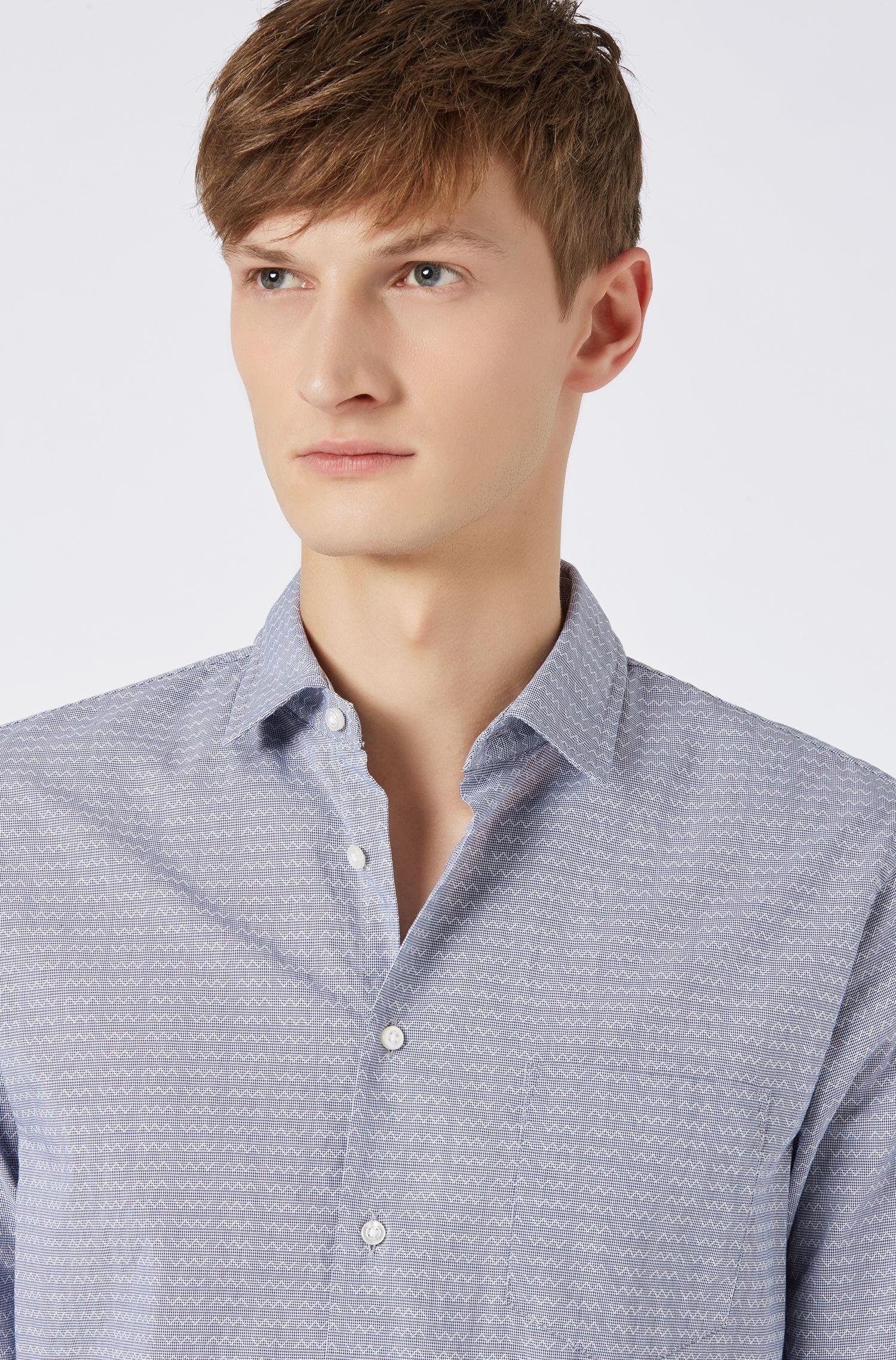 Slim-Fit Hemd aus strukturierter Baumwolle mit geometrischem Muster, Blau