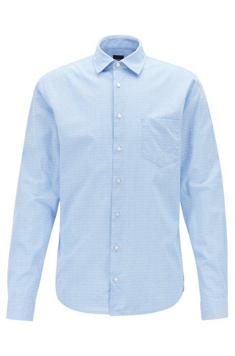 Slim-fit overhemd van dobbykatoen met geometrisch dessin, Bedrukt