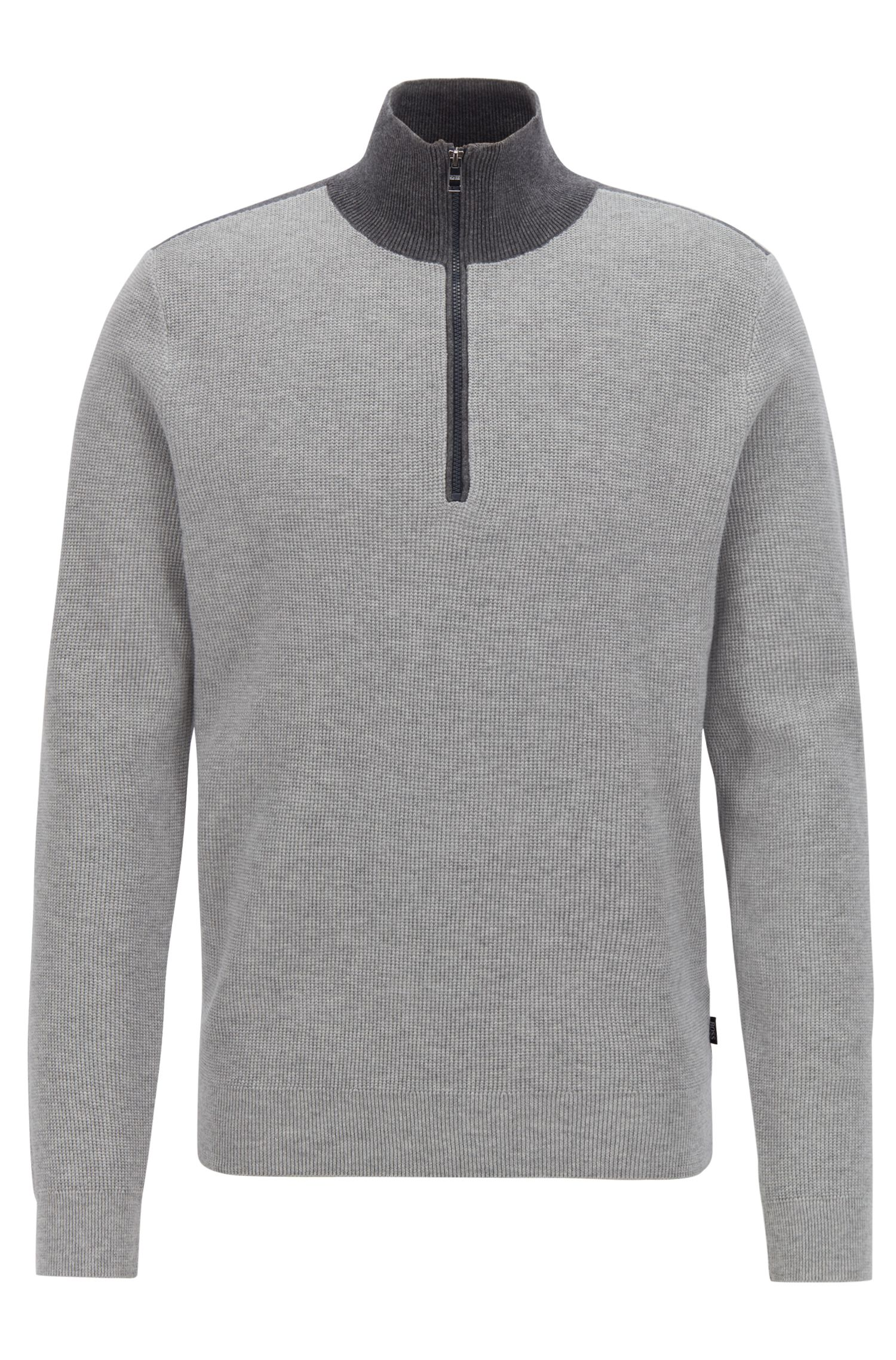 Micro-structure sweater with zip neck and colour contrasts, Grey