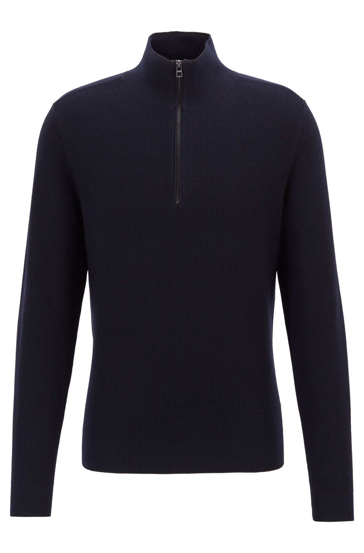 Micro-structure sweater with zip neck and colour contrasts, Dark Blue
