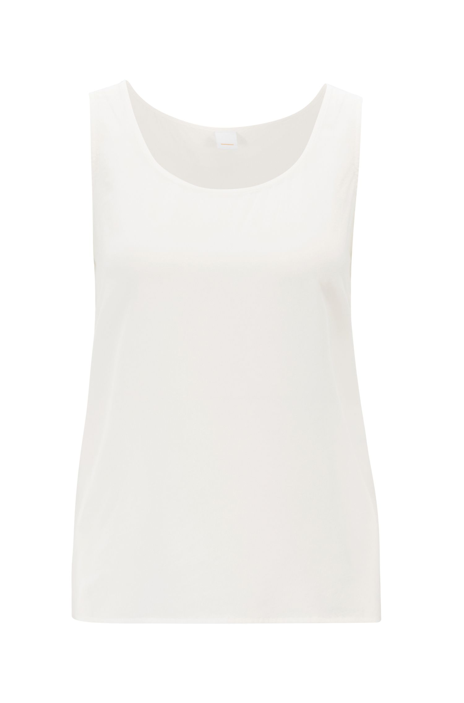 Sleeveless blouse in pure sand-washed silk, Natural
