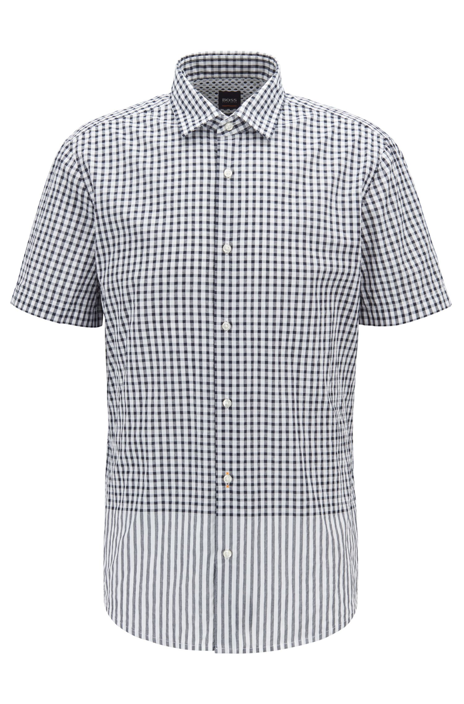 Regular-fit shirt with engineered check and stripe pattern, Dark Blue