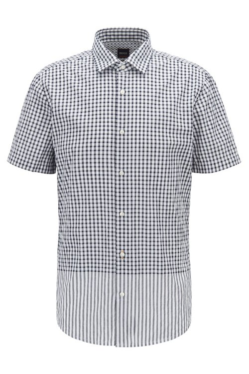 Hugo Boss - Regular-fit shirt with engineered check and stripe pattern - 1