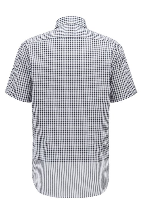 Hugo Boss - Regular-fit shirt with engineered check and stripe pattern - 5