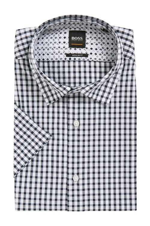 Hugo Boss - Regular-fit shirt with engineered check and stripe pattern - 4