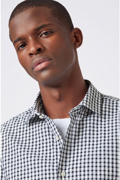 Hugo Boss - Regular-fit shirt with engineered check and stripe pattern - 3