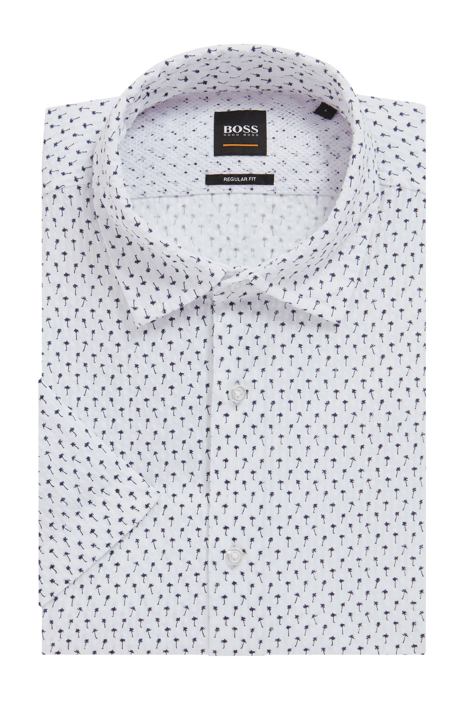 Camisa de manga corta regular fit en algodón estampado, Natural