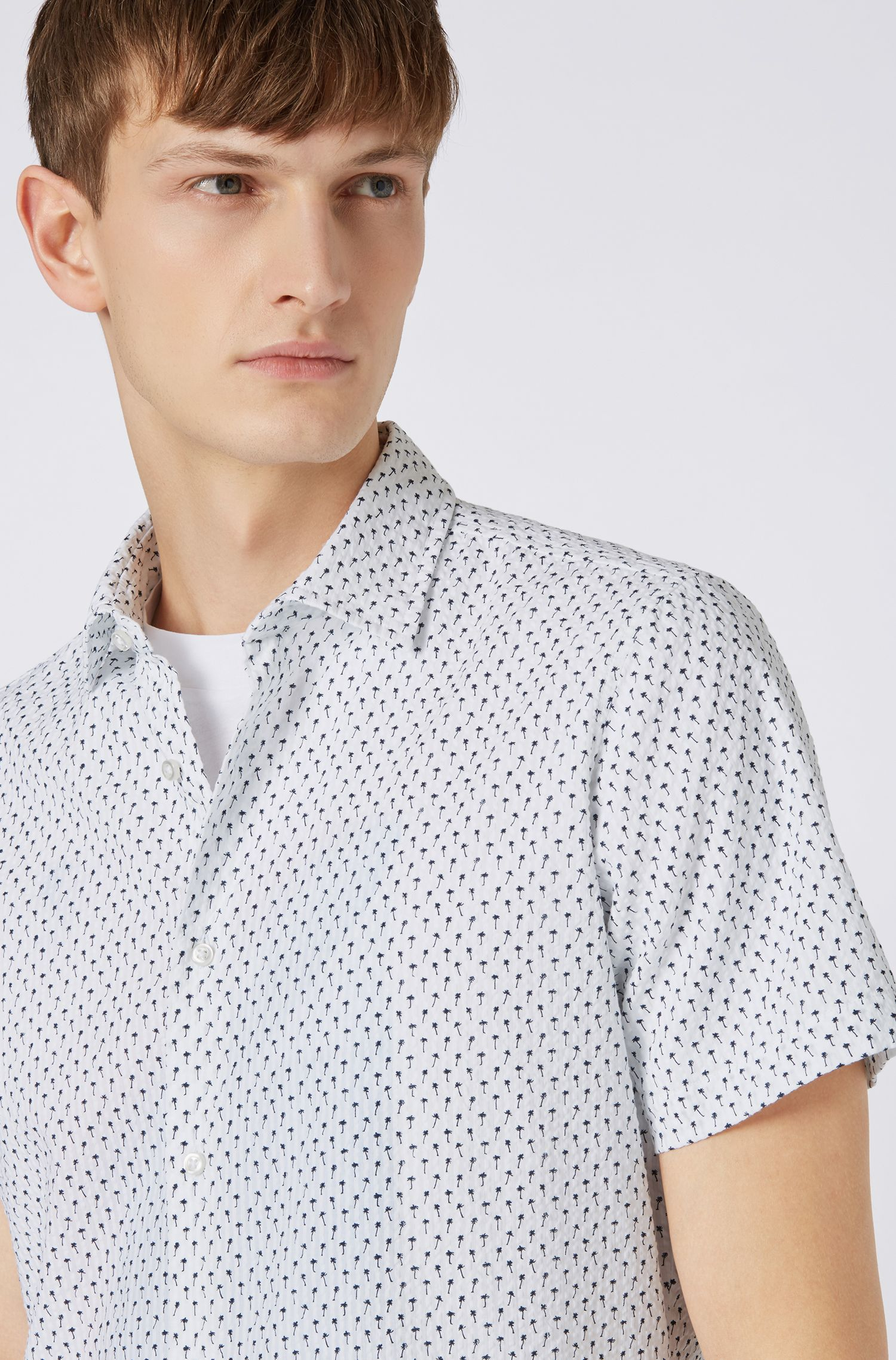 Short-sleeved regular-fit shirt in patterned cotton, Natural