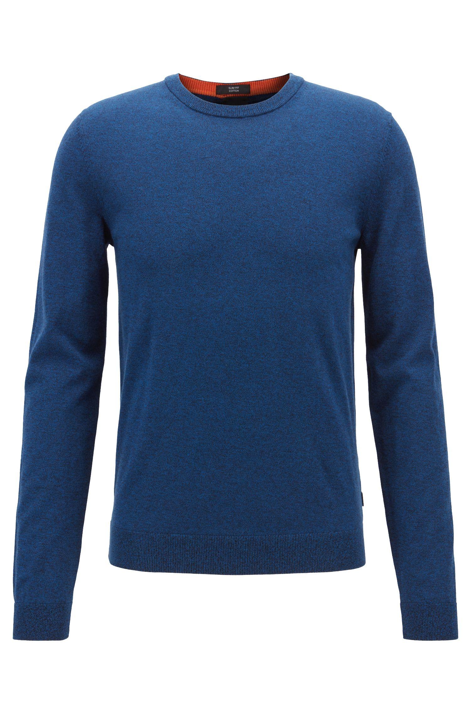 Slim-fit sweater in cotton with contrast inner neckline, Dark Blue