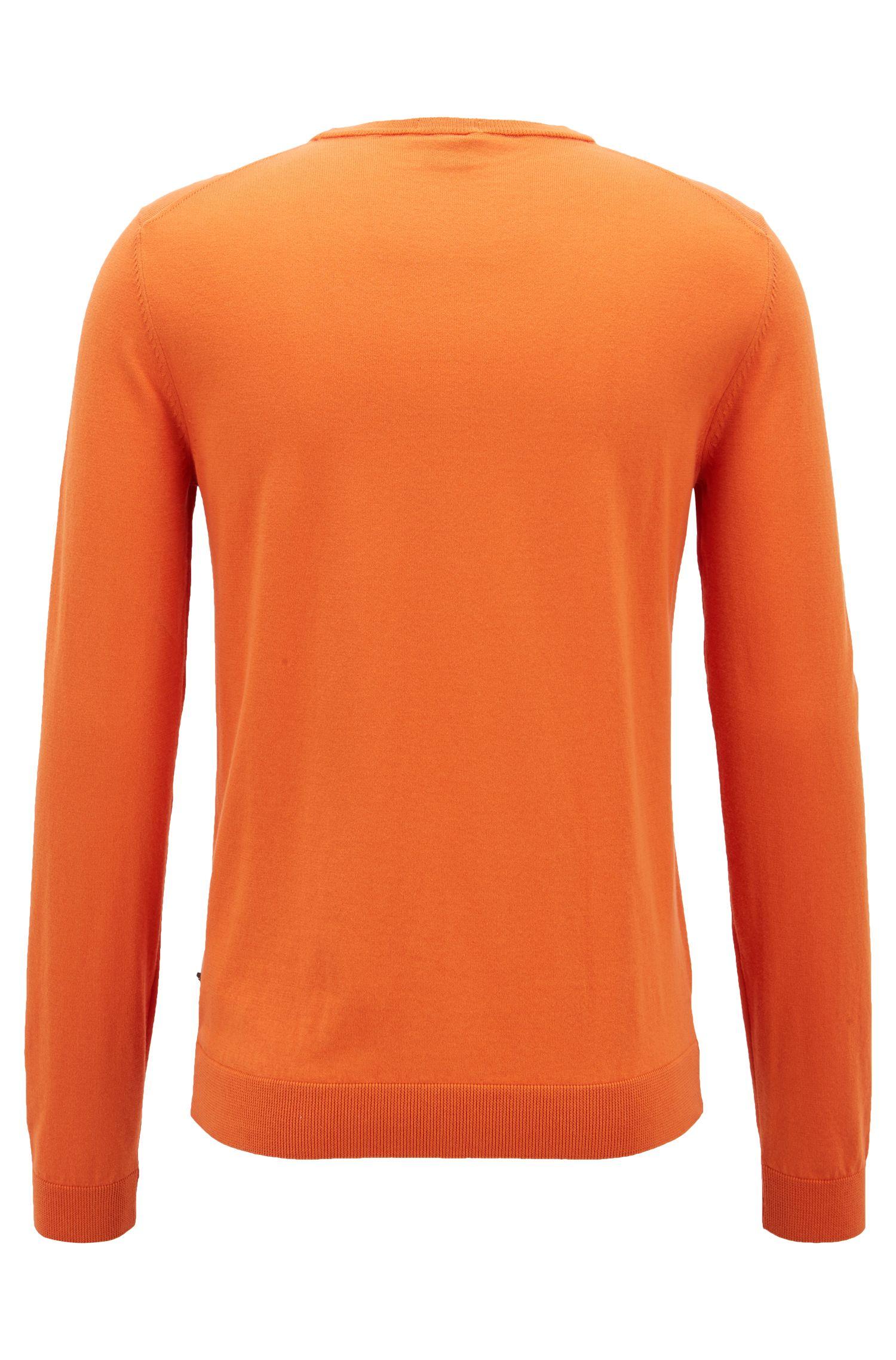 Slim-fit sweater in cotton with contrast inner neckline, Orange
