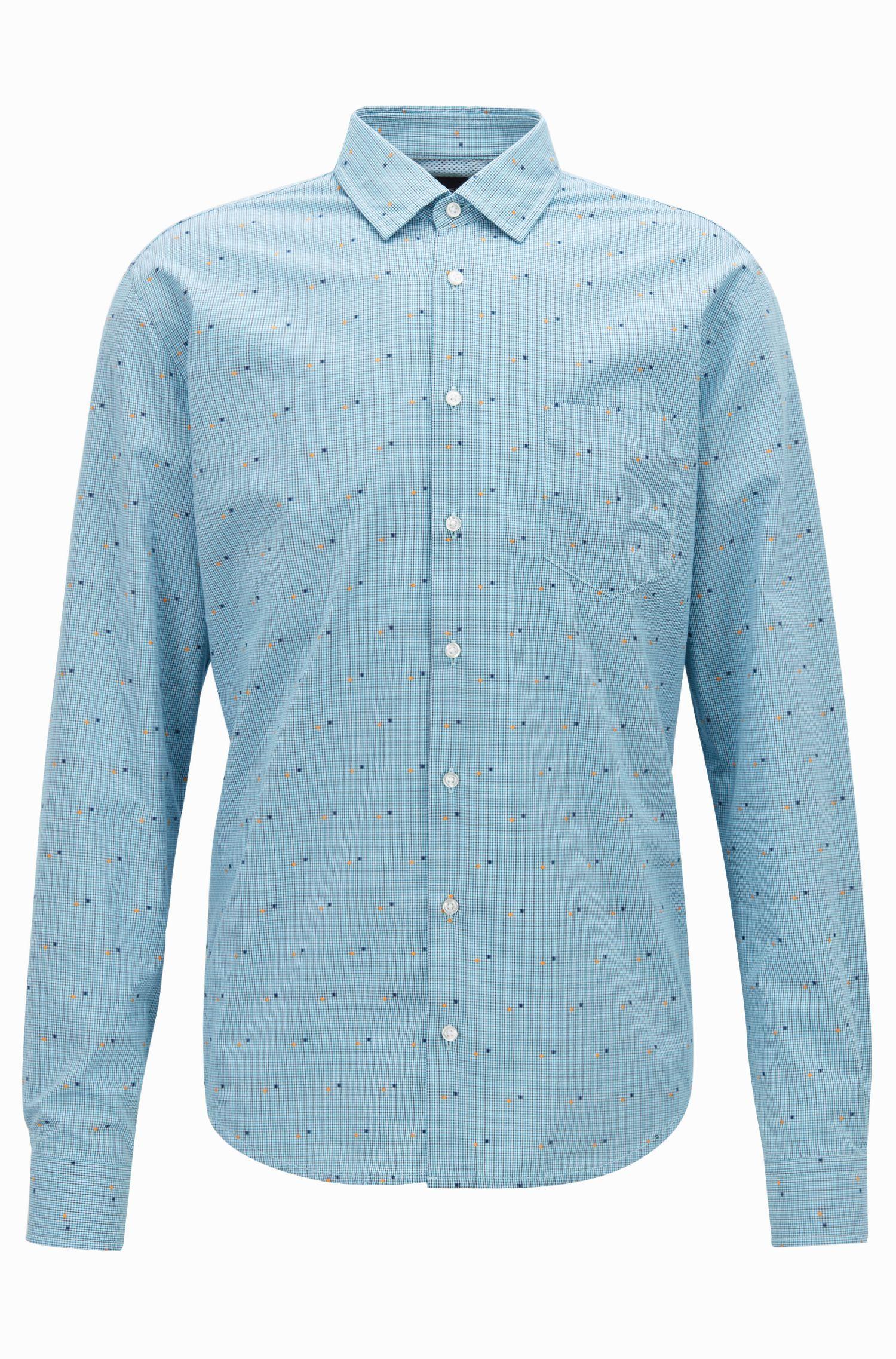 Camicia slim fit a micro-quadri fil coupé, A disegni