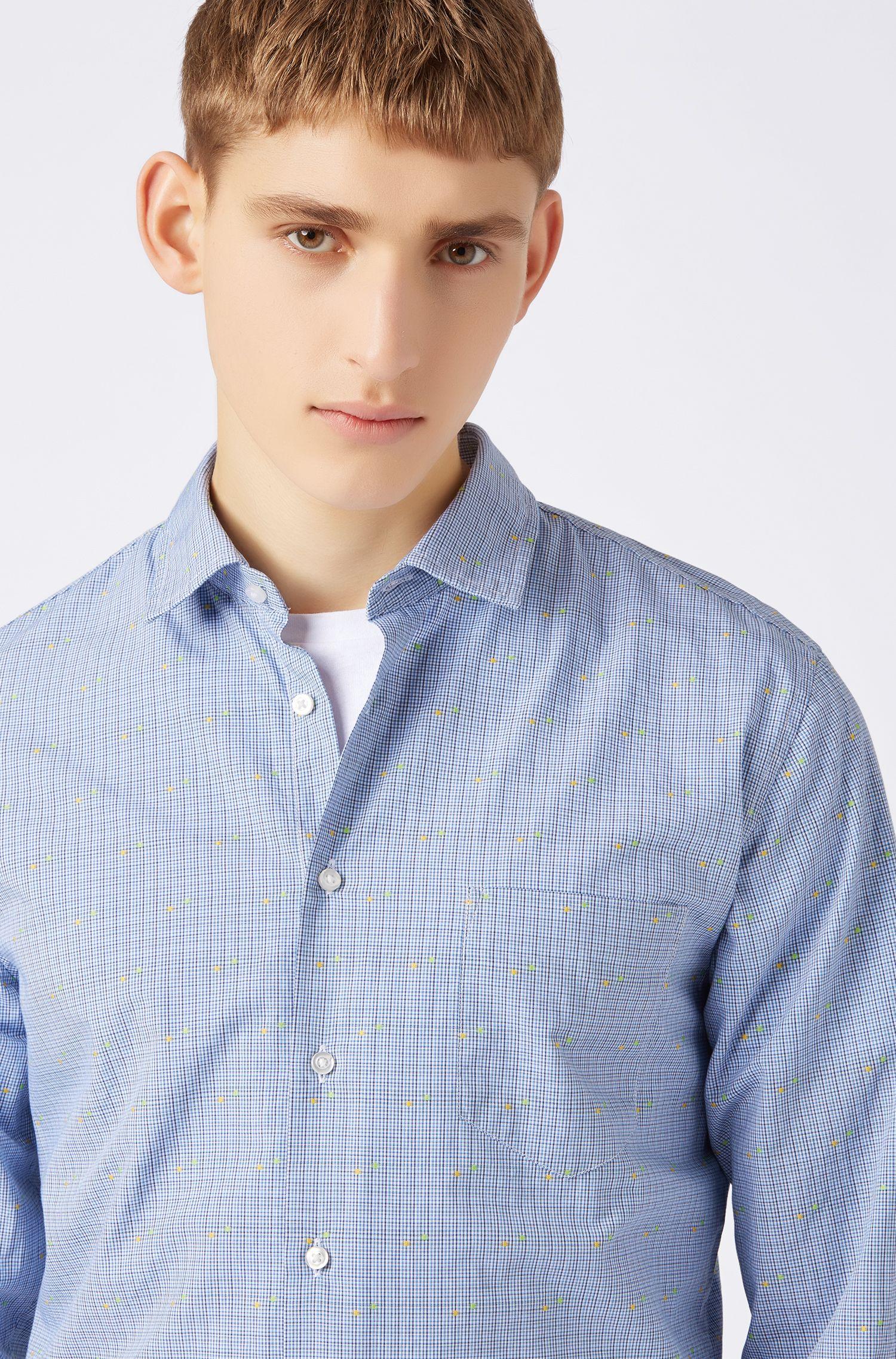 Slim-fit overhemd met fil-coupé geweven microruiten, Bedrukt