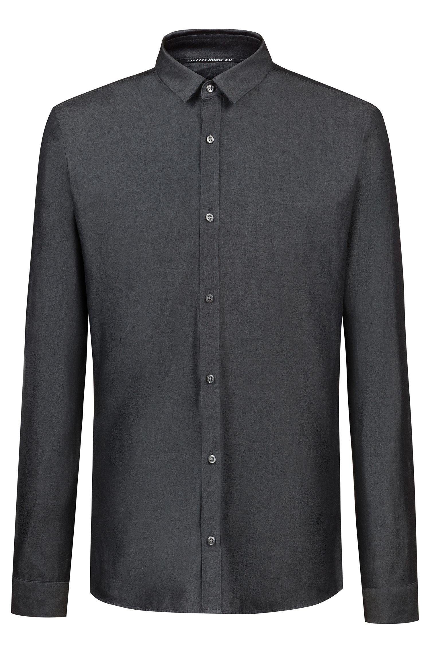 Extra slim-fit denim overhemd uit de Bits & Bytes-capsule, Zwart