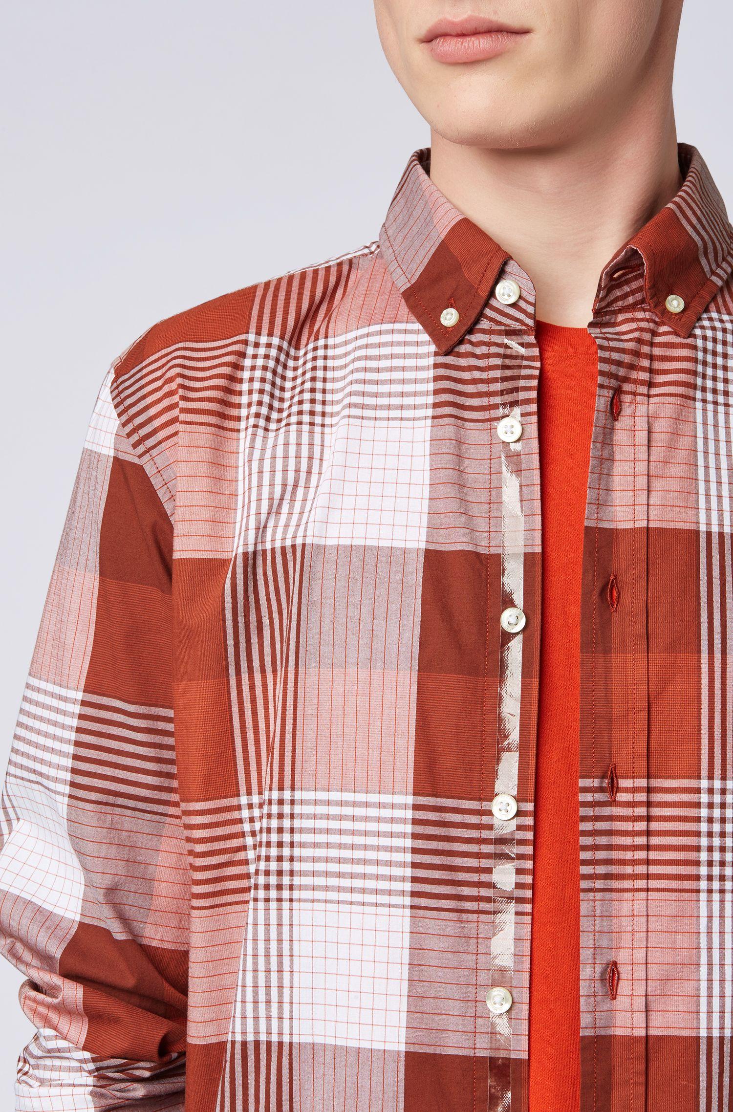 Kariertes Slim-Fit Hemd aus elastischer Baumwolle, Dunkelrot