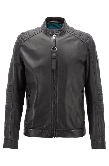 986fd0bc7 BOSS - Slim-fit biker jacket in part-quilted leather