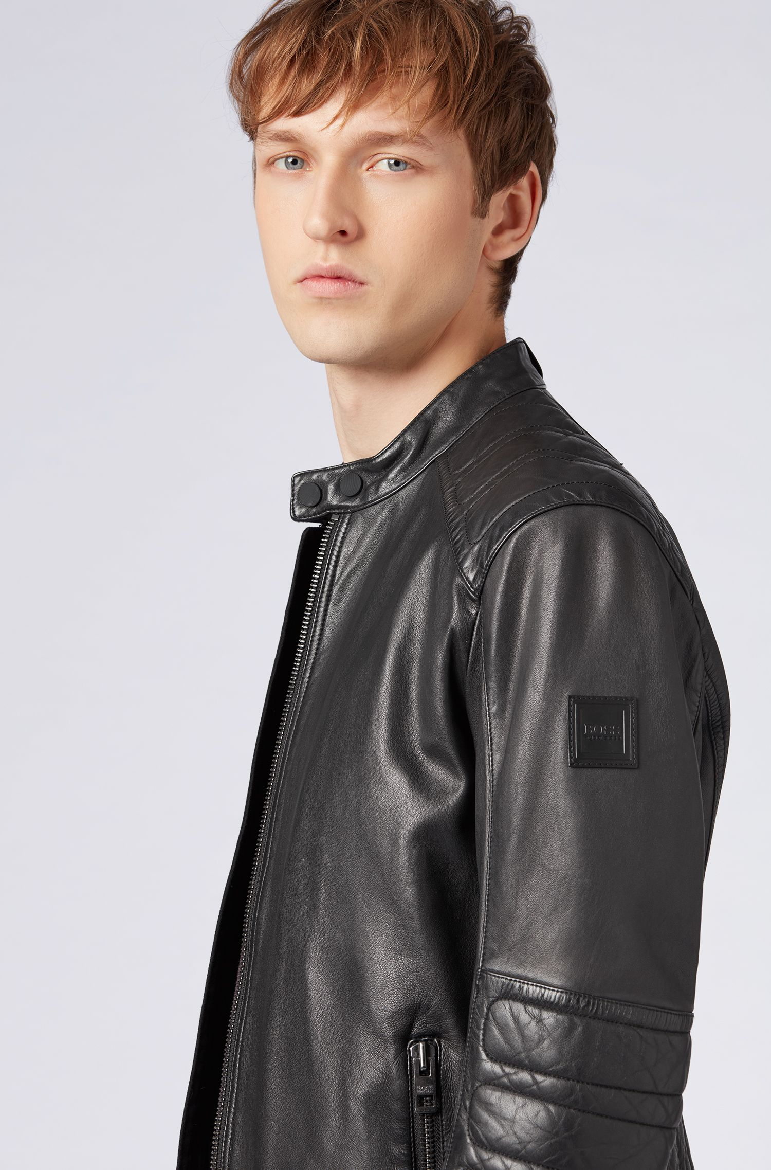 Slim-fit biker jacket in part-quilted leather, Black