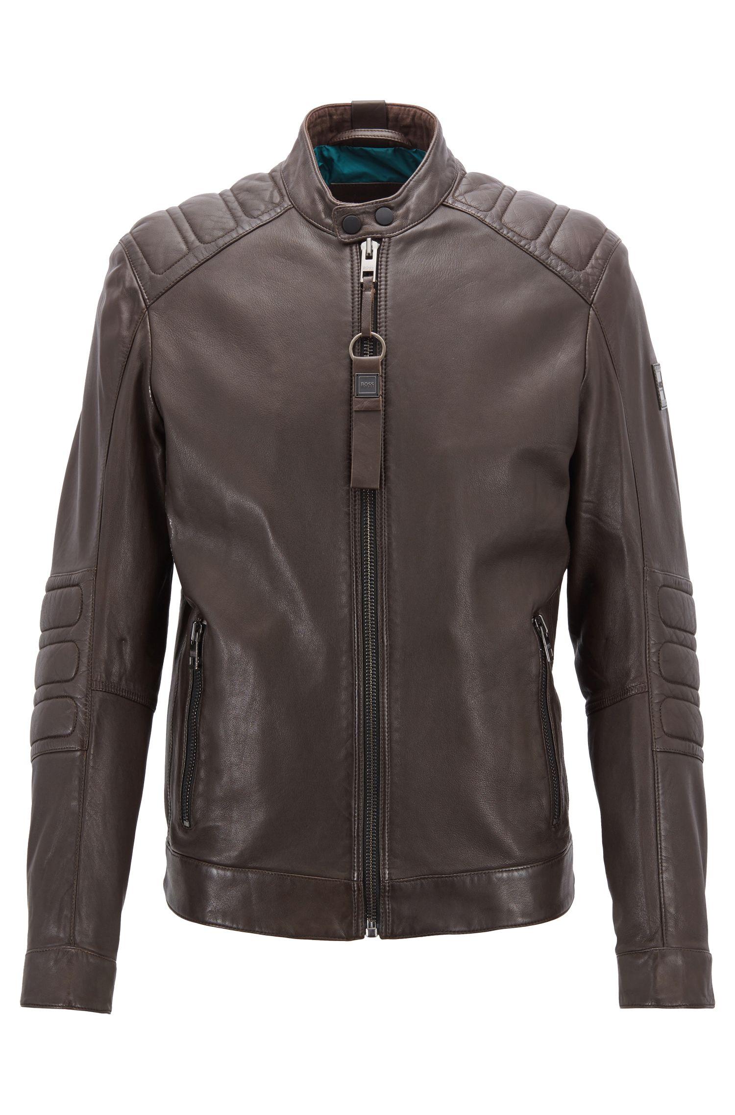 Giubbotto biker slim fit in pelle parzialmente trapuntata, Marrone scuro