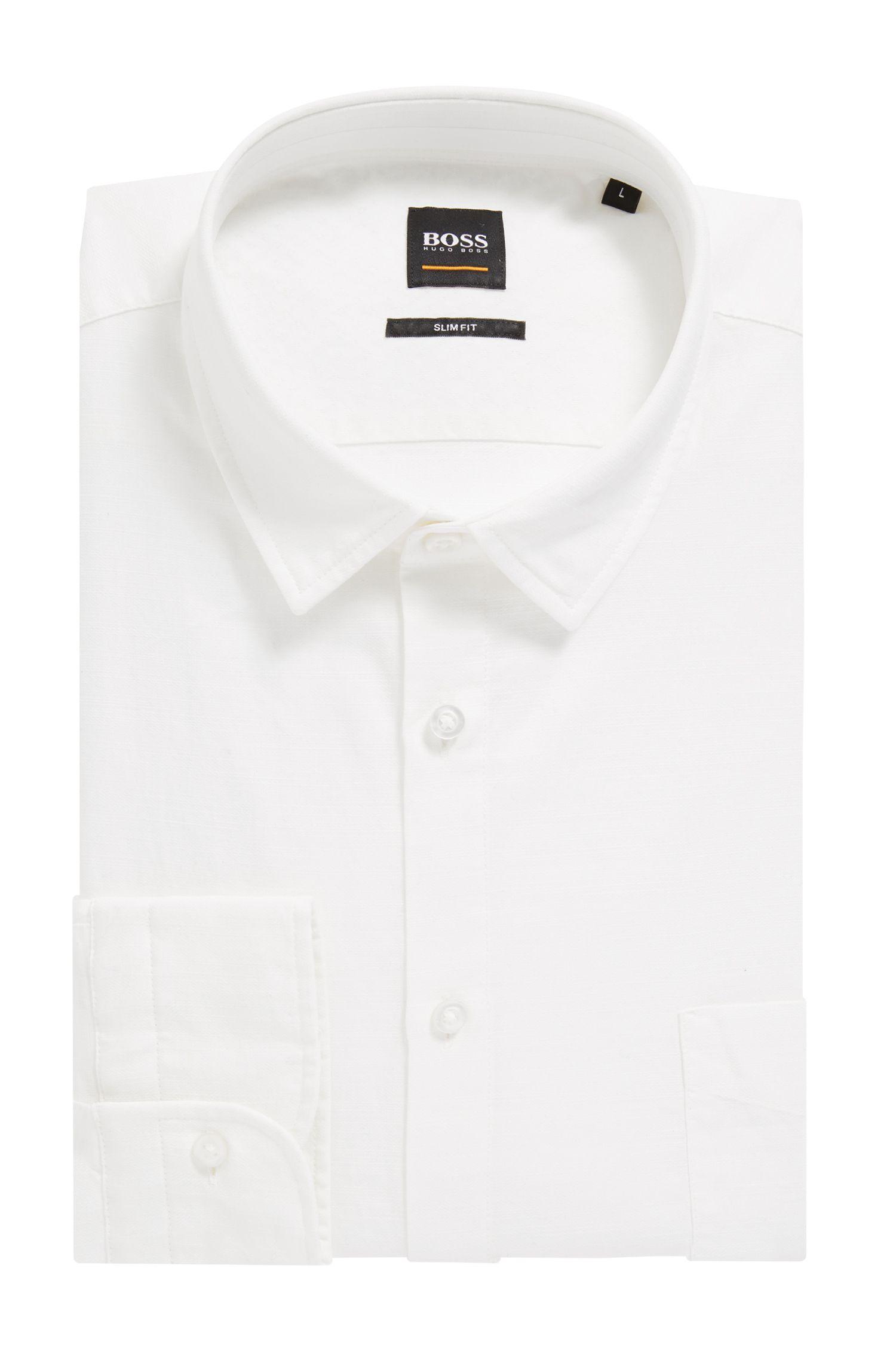 Strukturiertes Slim-Fit Hemd aus umweltfreundlich gebleichter Baumwolle, Weiß