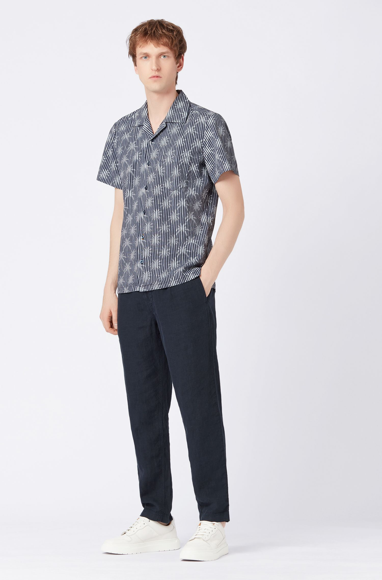 Short-sleeved shirt in cotton canvas with palm print, Dark Blue