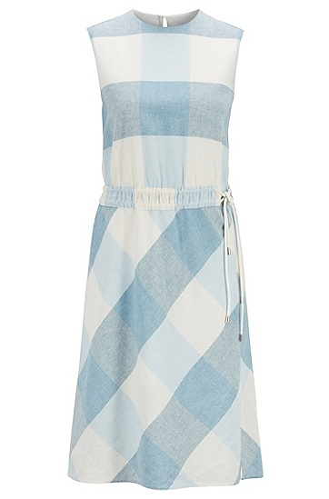 女士格纹无袖连衣裙,  417_海军蓝色