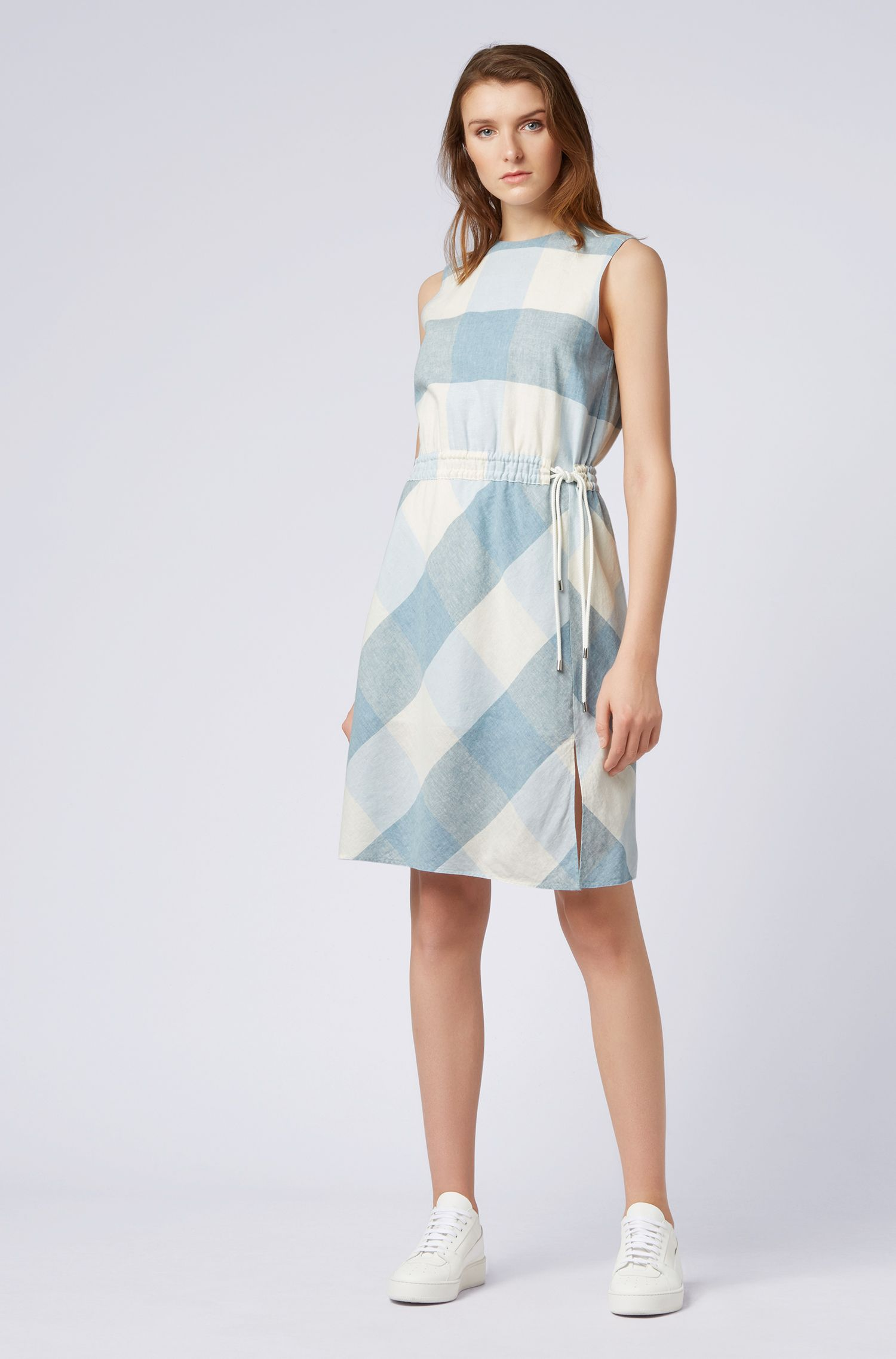 Linen-blend checked dress with drawstring waist, Patterned