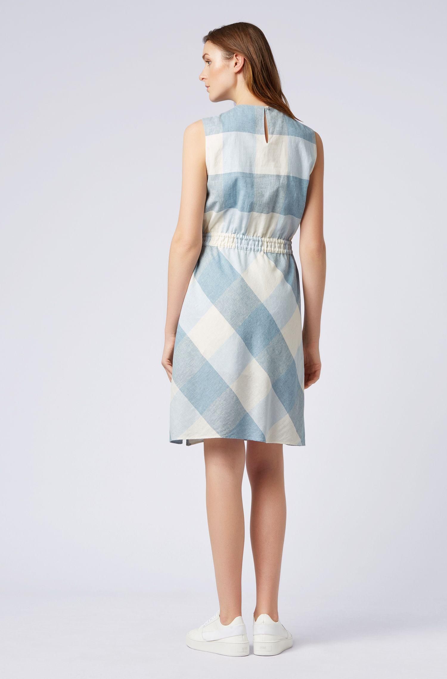 Kariertes Kleid aus Leinen mit Baumwolle und Tunnelzugbund, Gemustert